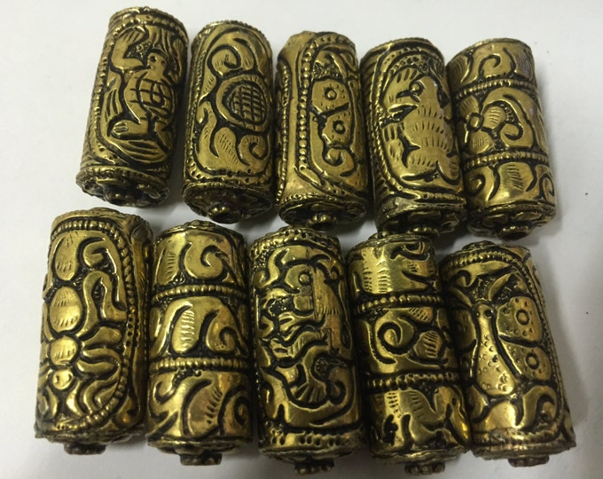 10 BEADS - Mix lot floral animal bird designs Tibetan brass repousse floral design focal pendant bead -  BD469Y