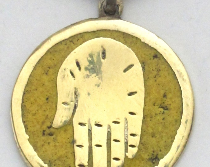 Buddha hand brass pendant with yellow turquoise inlay from Nepal - PM186C