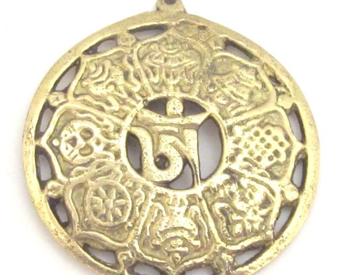 Tibetan brass lotus flower ashtamangala auspicious symbols Om pendant - CP077