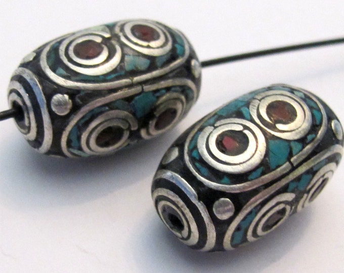 Teardrop Nepal Beads for Jewellery Making 5 Tribal Beads 25mm White Agate Pendant Beads T101