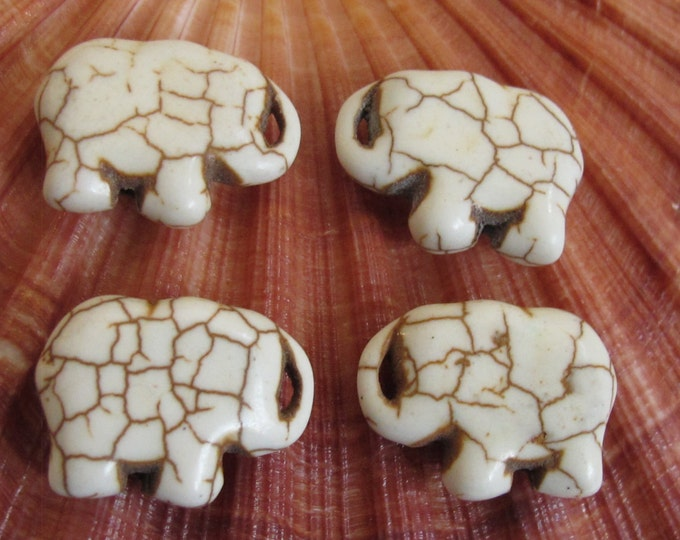4 Beads - Ivory color howlite elephant shape small size beads pendant 15 mm x 21mm  - GM298
