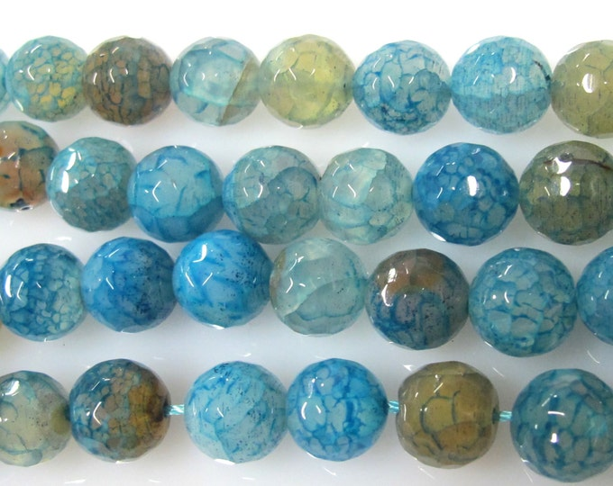 10 BEADS - Cool blue  dragon veins faceted Agate gemstone beads 10 mm -  GM350