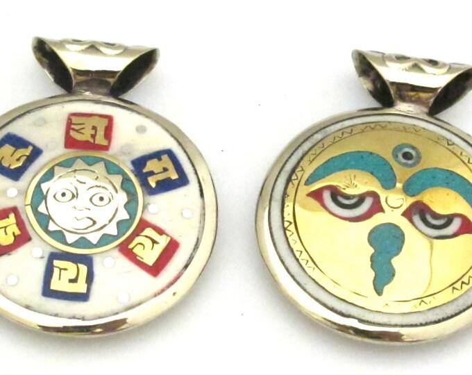 1 Pendant - Reversible Tibetan Buddha eye and om mantra brass turquoise inlaid bone pendant - PM355