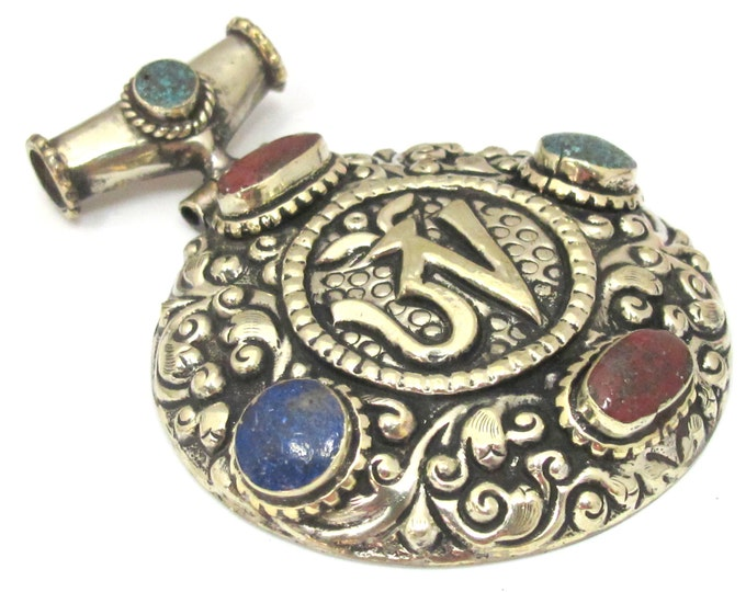 OOAK Large Tibetan Silver Repousse Om carved & lotus flower hinge bail pendant with turquoise coral inlay - PM449B
