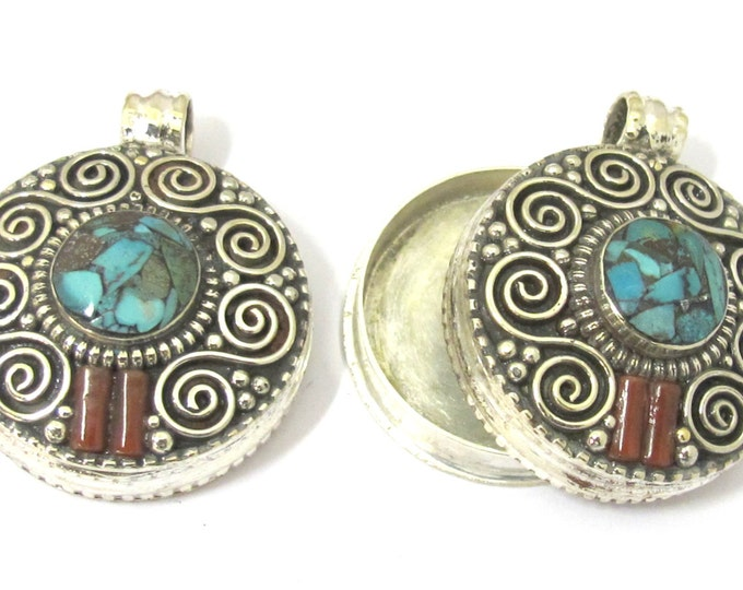 1 Pendant - Gorgeous Tibetan silver Ghau prayer box double spiral design pendant with turquoise inlay  - PM427