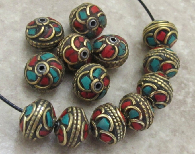 Nepalese brass bead with turquoise coral inlaid in floral whorl design - 1 bead - BD518