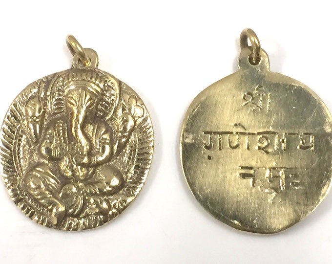 1 Pendant - Shree Ganesha brass  pendant with reverse side inscribed prayer shree ganeshay namah  - CP095 - Copyright Nepalbeadshop