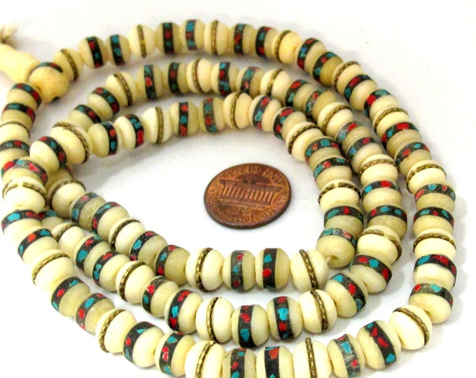 108 beads - 8 mm Tibetan ivory white color bone mala turquoise brass coral inlay beads and Guru bead supply - ML070A
