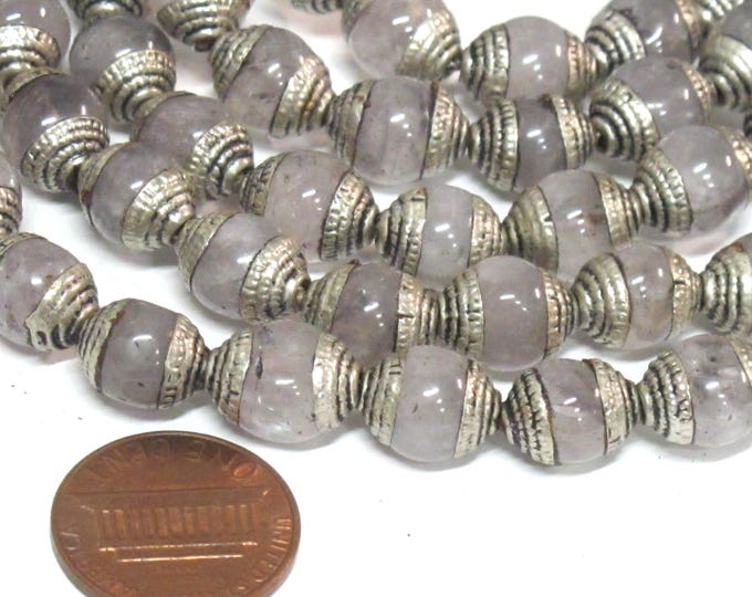10 Beads - Tibetan antiqued silver color capped quartz gemstone beads from Nepal 9 - 10 mm x 11-12 mm  -  BD974Ax