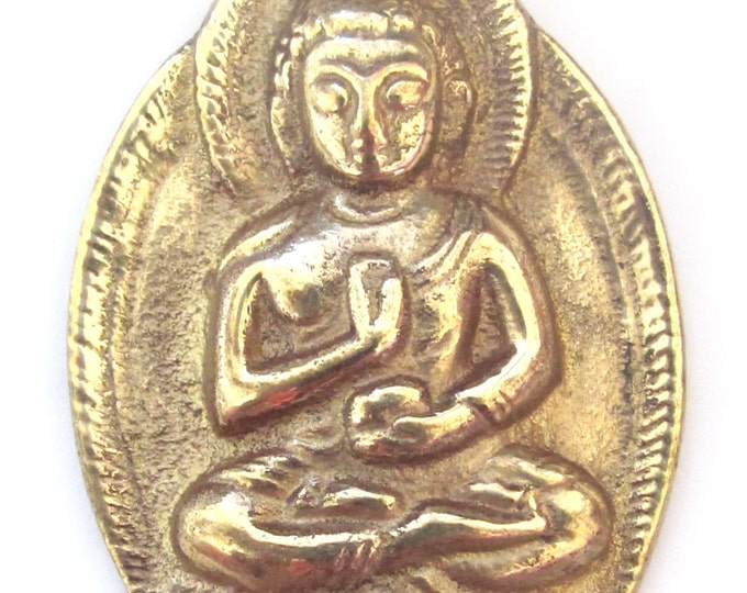 Tibetan Brass Buddha pendant large big oval shape tibetan Nepal Buddha meditation jewelry making supply pendant buddah solid brass CP025
