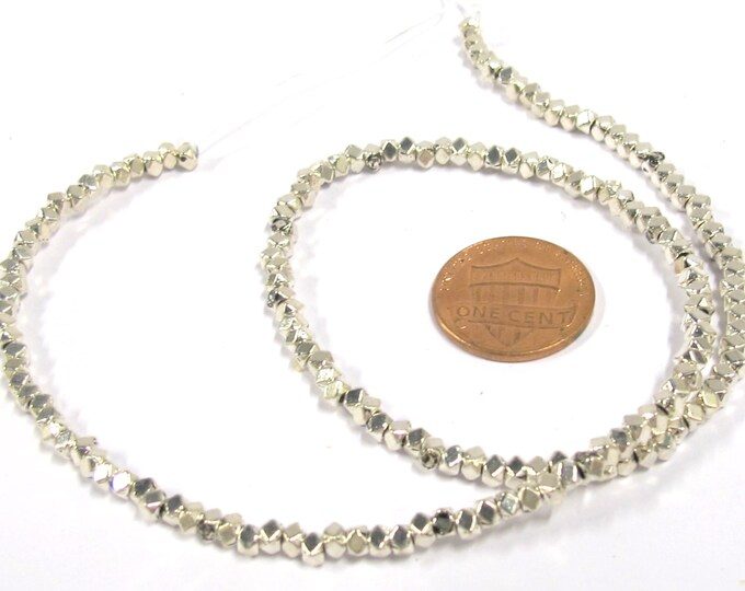 1 Full strand - Small size 3 - 4 mm Shiny silver plated metal cube hex beads - BD417