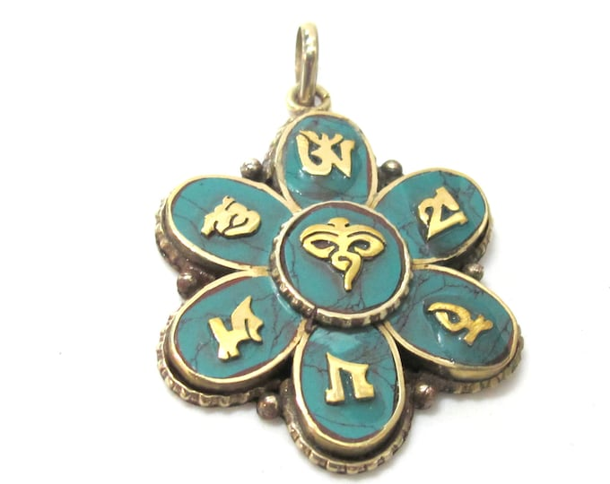 1 pendant - Tibetan Buddha eye Lotus flower Om pendant with turquoise inlay - PM523