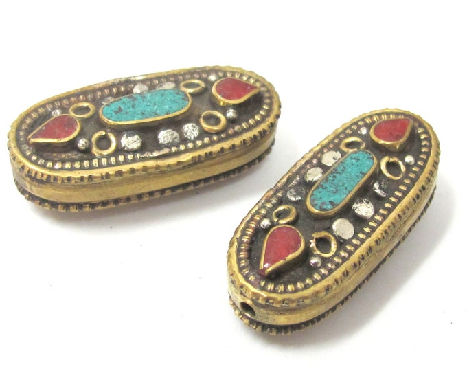 1 Bead - Beautiful large Tibetan brass bead with turquoise coral inlay unique design - BD929