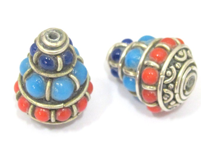 2 beads - Ethnic Tibetan silver nepal cone shape bead with red blue resin inlays - BD834s
