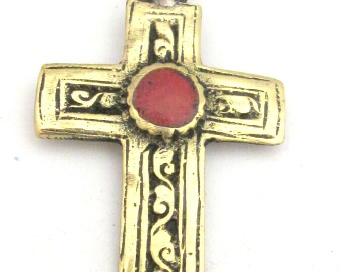 Tibetan cross pendant - Tibetan brass repousse cross pendant reversible floral design and coral inlay- ethnic nepal jewelry pendants -PM352A