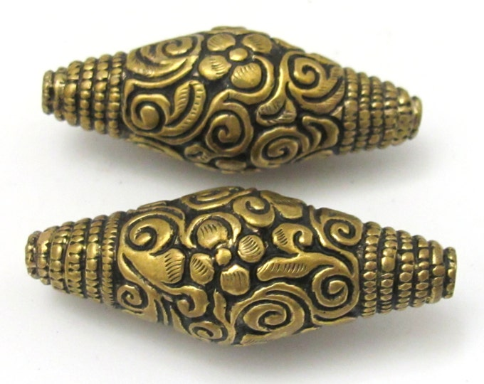 1 BEAD - Large Bicone shape tibetan brass repousse antiqued gold tone floral design beads - BD619