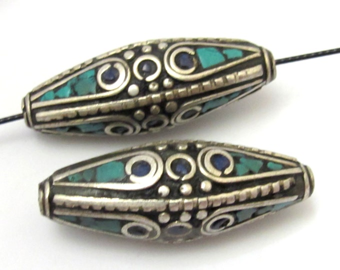 2 BEADS - Large size Bicone shape nepalese brass beads with turquoise and lapis inlay - BD631
