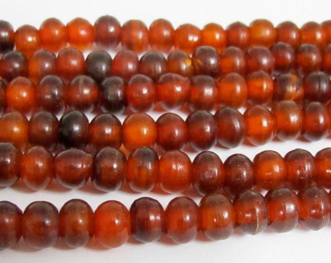 50 beads - Tibetan beads burnt horn beads supplies -mala jewelry making reddish horn beads nepal beads ethnic beads - ML124B