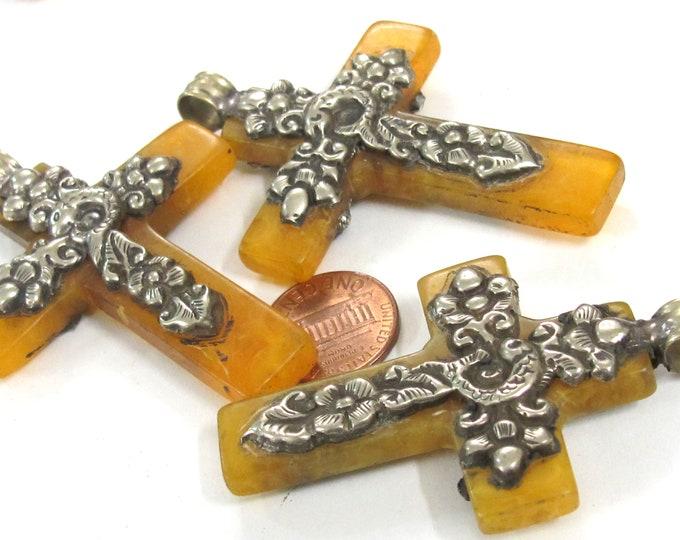 1 Pendant - Tibetan silver color fish design resin cross pendant from Nepal antiqued crude finish - PM514L