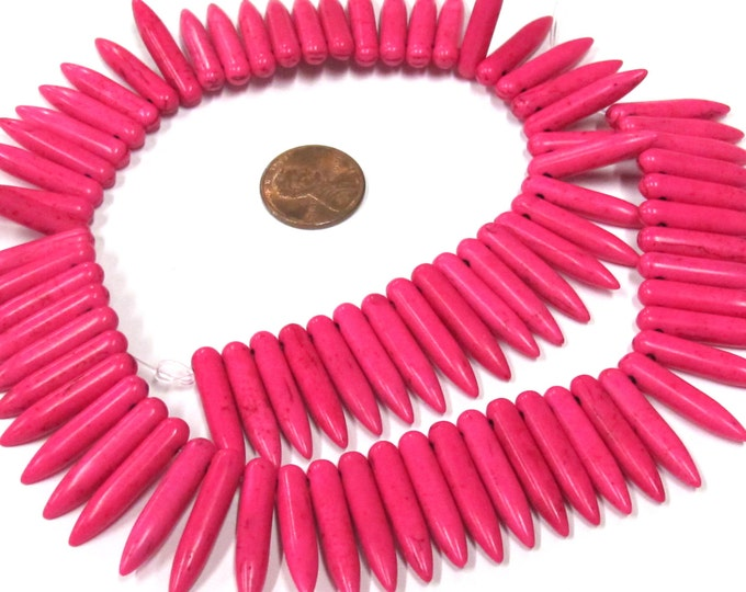 Full strand - Hot Pink magnesite gemstone spike stick beads 25 mm x 5 mm  - GM356