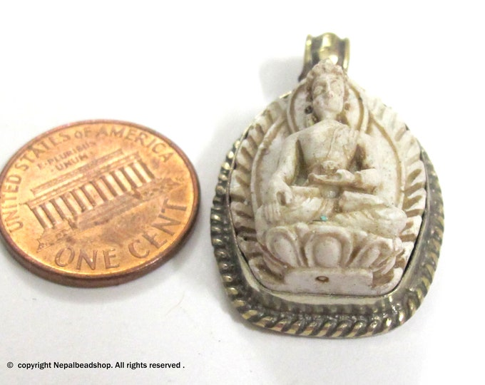 Small size cream color Tibetan Buddha pendant from Nepal - 1 pendant - PS005C