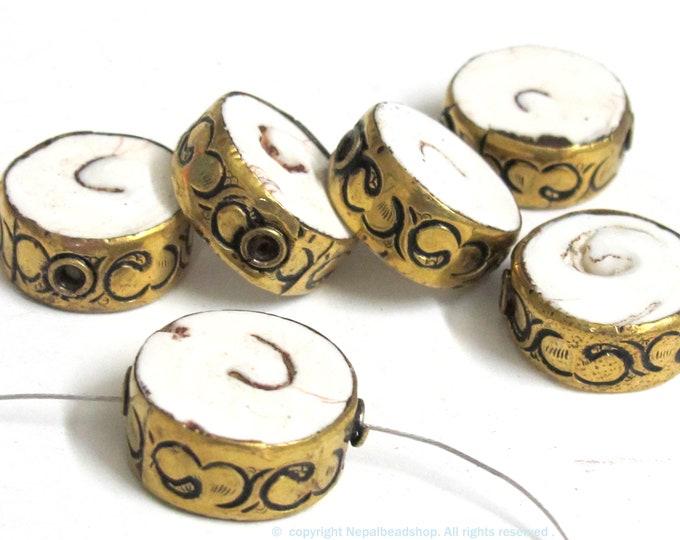 2 Beads- Round disc shape Tibetan brass encased tribal naga conch shell focal bead 18 -20 mm wide - CH076s
