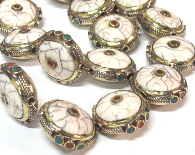 8 Beads - Round Tibetan white crackle Resin bead with brass turquoise and coral inlay bulk lot saver nepalbeadshop  - BD969B