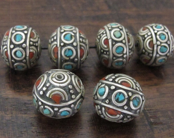 1 Bead - Beautiful  Thick Round oval Tibetan silver inlaid bead with coral and turquoise - BD564