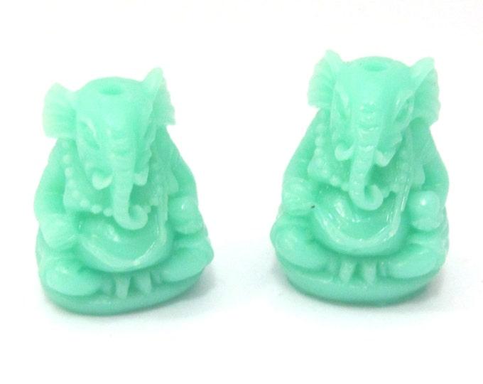 2 BEADS - Aqua Blue Green resin seated Ganesha pendant bead 20 mm x 15 mm - BD784K