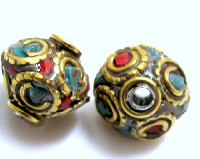 1 BEAD-Bicone disc shape brass beads from Nepal with turquoise coral inlay - BD150