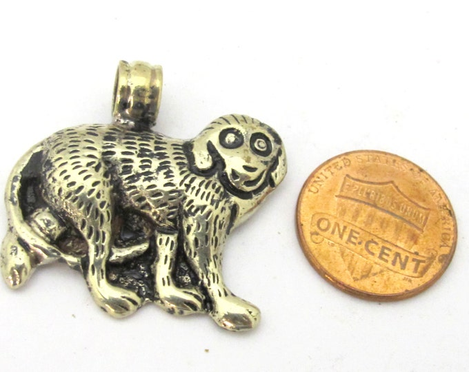 1 Pendant - Tibetan silver repousse carved monkey pendant from Nepal - PM254G