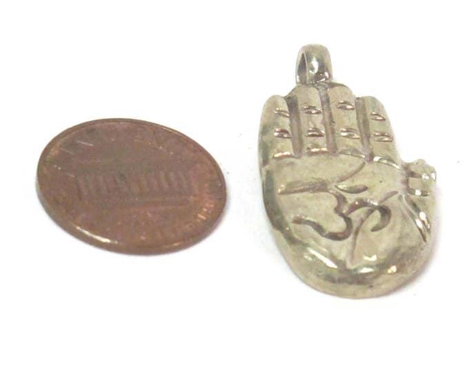 1 Pendant - Tibetan Buddha hand Om pendant from Nepal -  CP010H