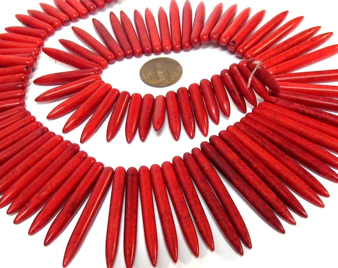 1 Full strand  - Long Red magnesite spike stick beads graduating size strand 16 inches  - GM426