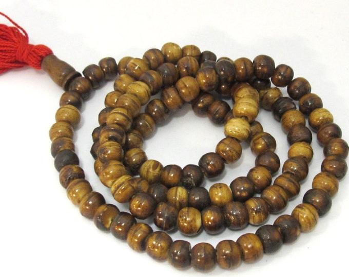 108 Beads - Brown color Tibetan bone mala making beads supply 8 mm size and guru bead  -   ML061