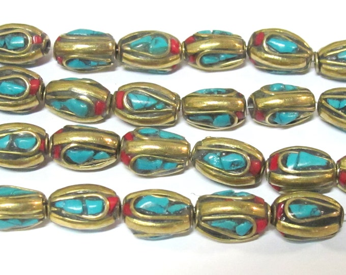 8 beads - Nepal beads Tibetan brass Beads with turquoise coral inlay  - BD728Ks