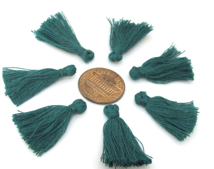 10 Pieces  - Small mini size dark green color silky tassel charms tassle fringe mala supply 1 inch - TS010s