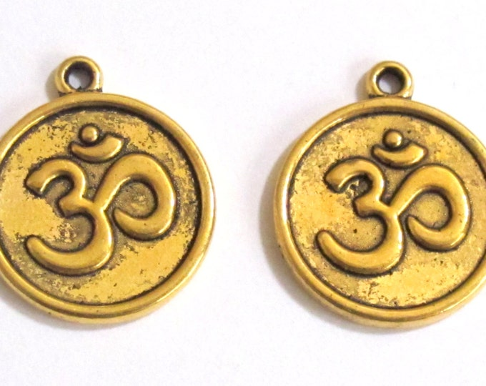 4 pieces - Antiqued gold tone yoga meditation om metal disc charms beads  - BD329A