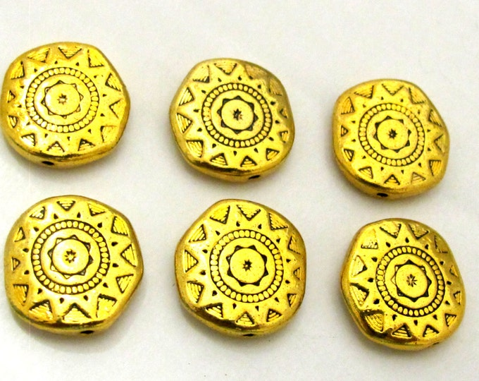 4 Beads - 18 mm wide Large disc shape antiqued golden color dual sided sun chakra design beads  - BD786
