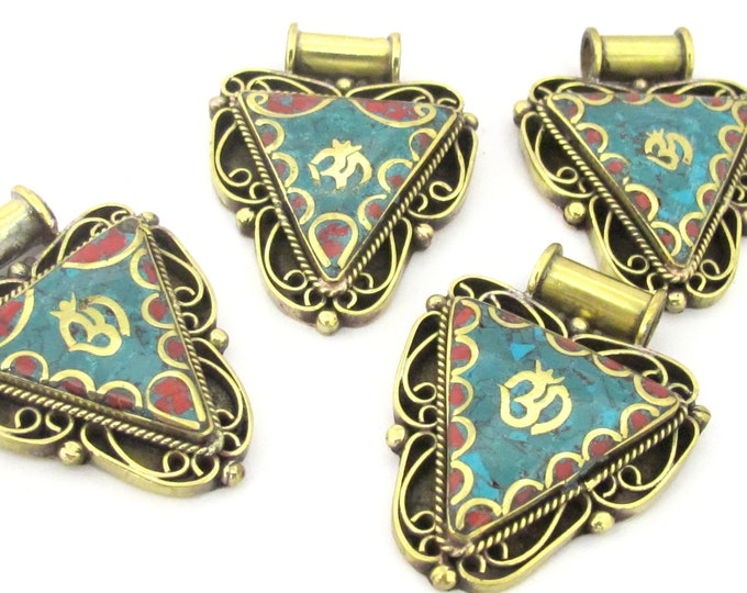 1 Pendant - Ethnic Nepalese Triangle shape Om mantra brass pendant   - PM435A