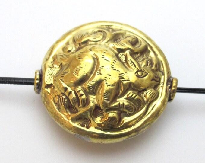 1 Bead - Large 34 -35 mm size Tibetan brass repousse rabbit design focal pendant bead antiqued golden color  -  BD426