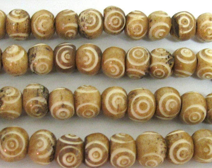 20 BEADS - Brown color Tibetan eye prayer mala bone beads  - HB056