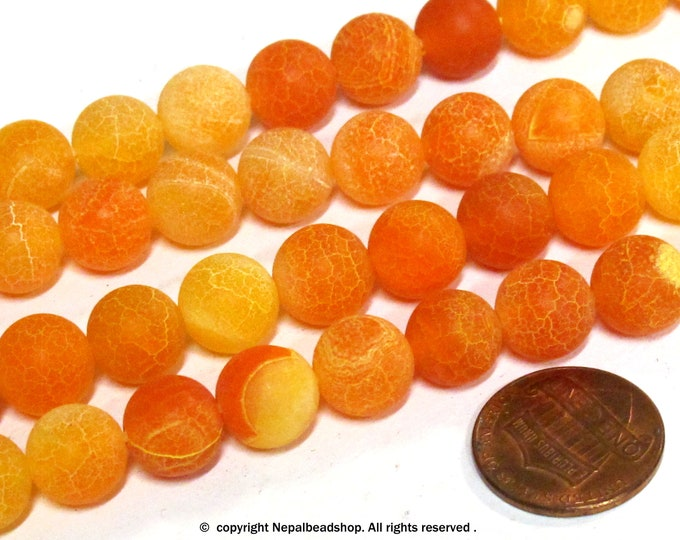 10 BEADS - Fire agate mix orange fall colors dragon veins gemstone beads 10 mm -  GM380R