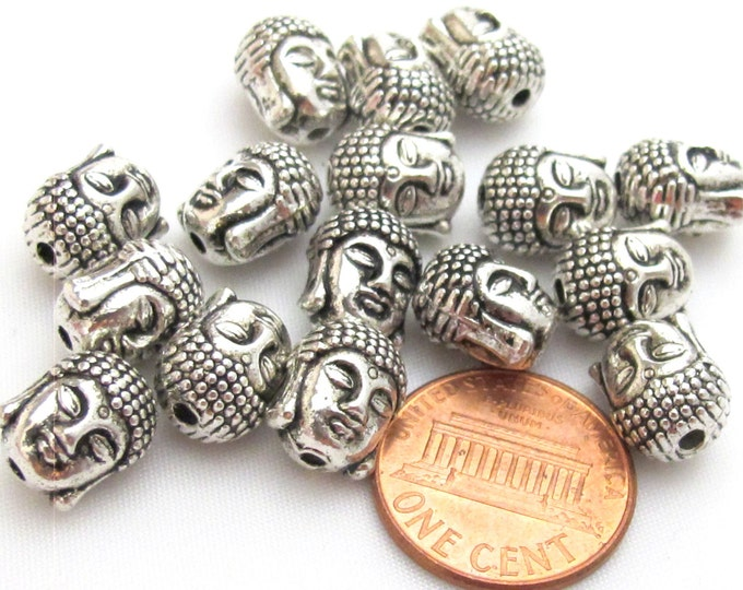 10 Beads-High quality Reversible silver plated Tibetan Buddha bead  - BD415s