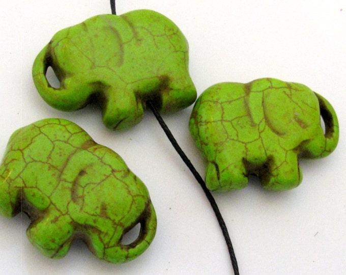 2 BEADS - Green howlite  turquoise elephant shape bead pendant - GM0316B