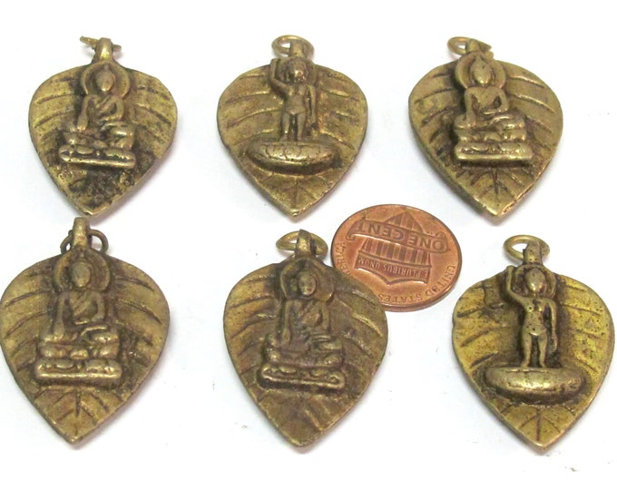 6 Pendants - Reversible bodhi leaf shape standing Buddha and seated buddha  Brass pendant from Nepal wholesale bulk lot - CP068Bx