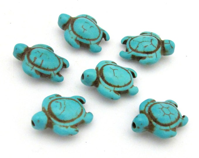 4 Beads-Howlite turquoise Carved Turtle charm beads - GM366