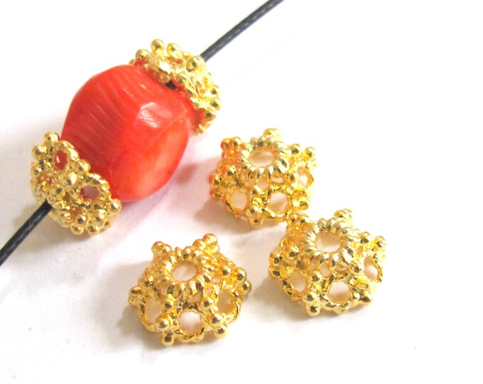 4 Beads-22 K Gold plated ethnic Tibetan design bead caps 10mm - BD562B