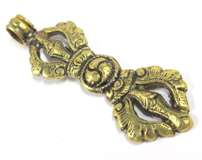 1 Pendant - Large Tibetan vajra dorje brass pendant - CP098