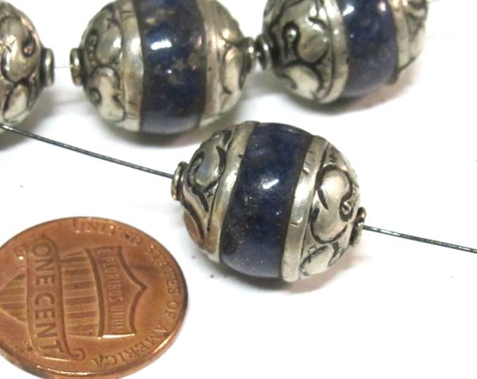 1 BEAD Tibetan capped Lapis Lazuli  gemstone bead-  17 - 18 mm long x 13 - 14 mm thick  BD154A