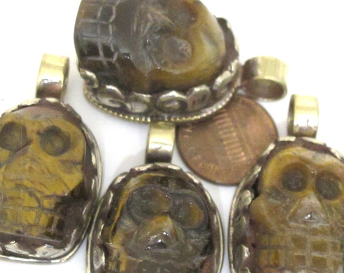 1 Pendant - Gorgeous tribal carved skeleton skull head face tigers eye gemstone pendant with floral carving - PM348K